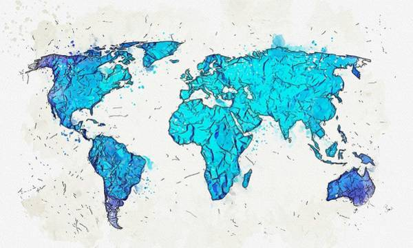 Wall Art - Painting - Map Of The World -  Watercolor By Ahmet Asar by Ahmet Asar