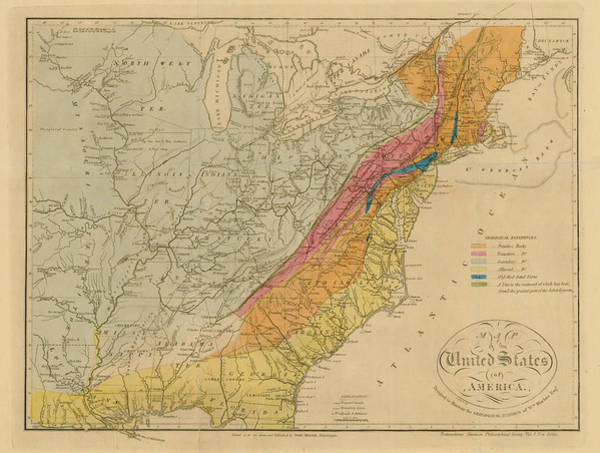 Color Image Digital Art - Map Of United States 1818c by Historic Map Works Llc