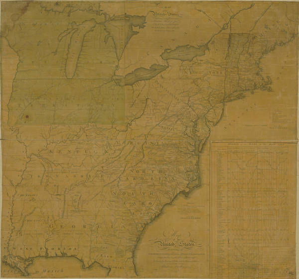 Color Image Digital Art - Map Of United States From 1796 by Historic Map Works Llc