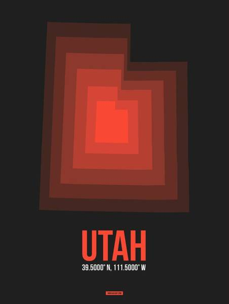 Map Of Utah Red Art Print