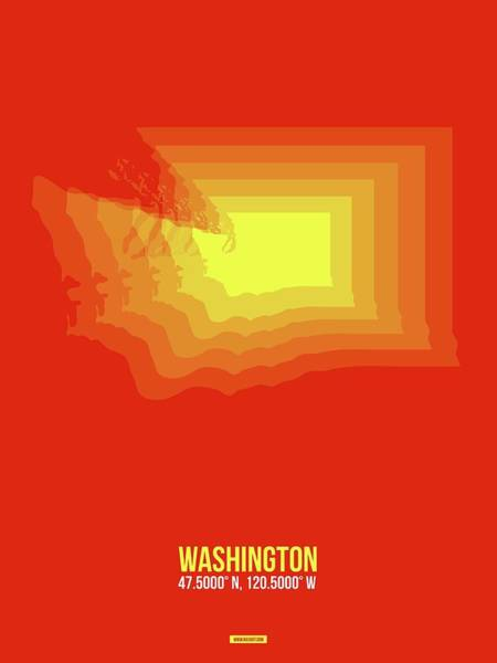 Wall Art - Digital Art - Map Of Washington by Naxart Studio