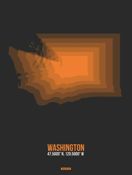 Map Of Washington Orange Art Print