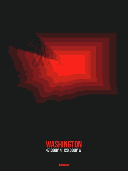 Map Of Washington Red Art Print