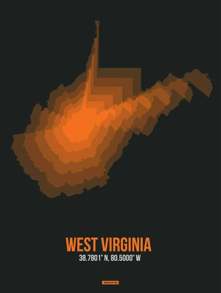 Wall Art - Digital Art - Map Of West Virginia 2 by Naxart Studio