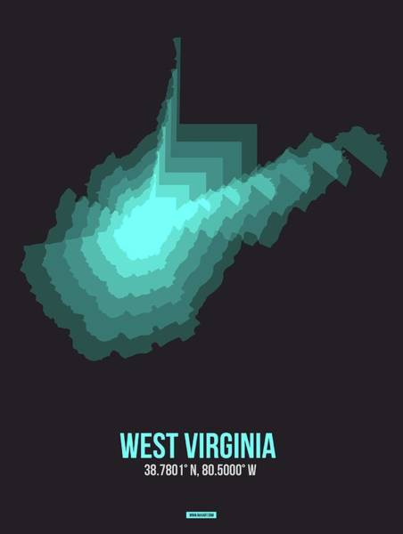 Wall Art - Digital Art - Map Of West Virginia 4 by Naxart Studio