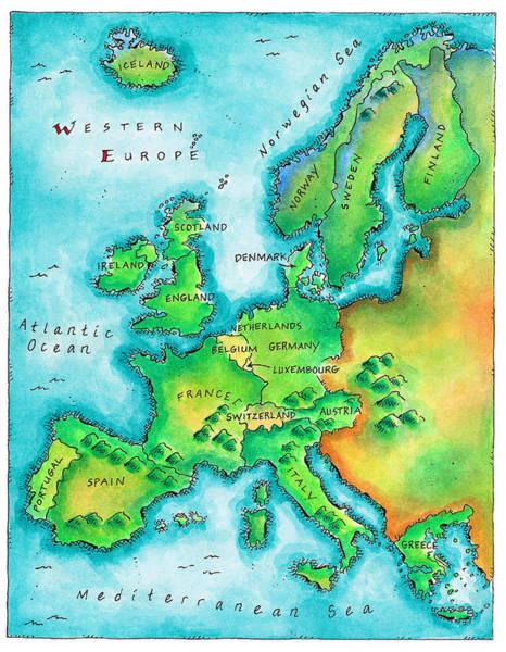 Iceland Digital Art - Map Of Western Europe by Jennifer Thermes