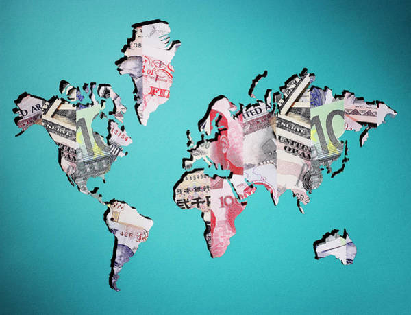 Photograph - Map Of World Made Of Various Currency by Thomas Northcut