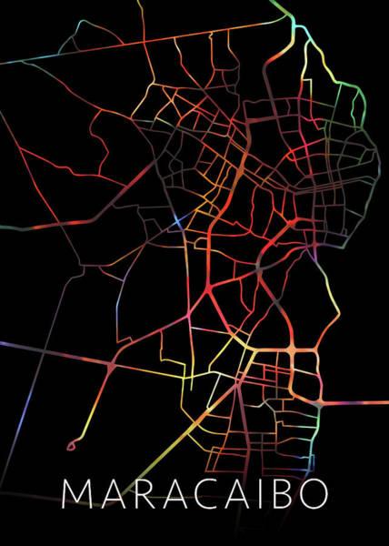 South America Mixed Media - Maracaibo Venezuela Watercolor City Street Map Dark Mode by Design Turnpike