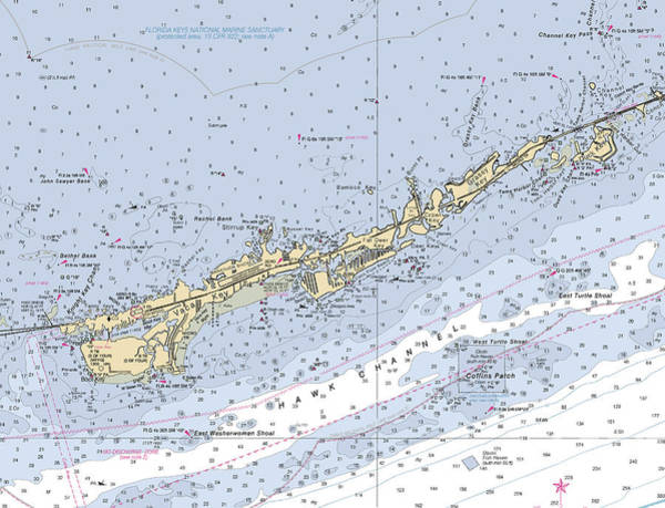 Digital Art - Marathon And Duck Keys Custom Noaa Nautical Chart by Paul and Janice Russell