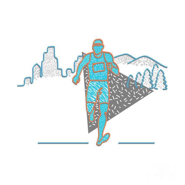 Wall Art - Digital Art - Marathon Runner Memphis Style by Aloysius Patrimonio