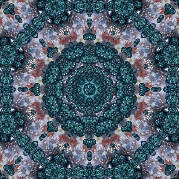 Wall Art - Mixed Media - Marbels Glass And Paint Love Mandala Decorative by Pepita Selles
