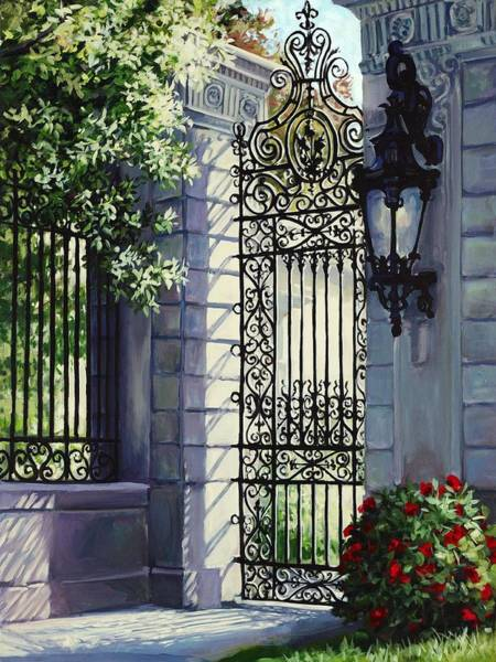 Wall Art - Painting - Marblehead Royal Entry - Garden Gates by Laurie Snow Hein