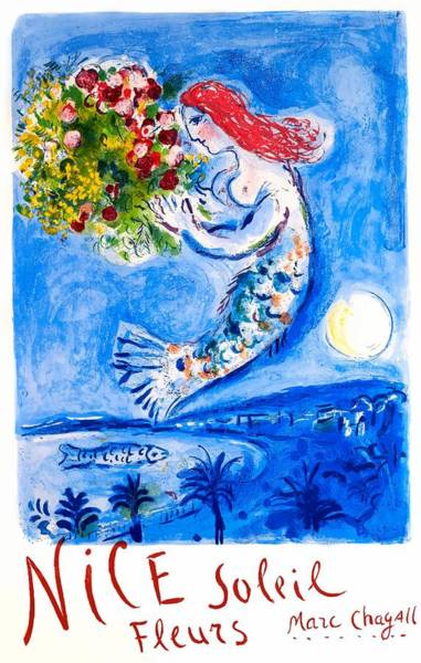 Wall Art - Digital Art - Marc Chagall 1962 Nice Soleil Fleurs France Travel Poster by Retro Graphics