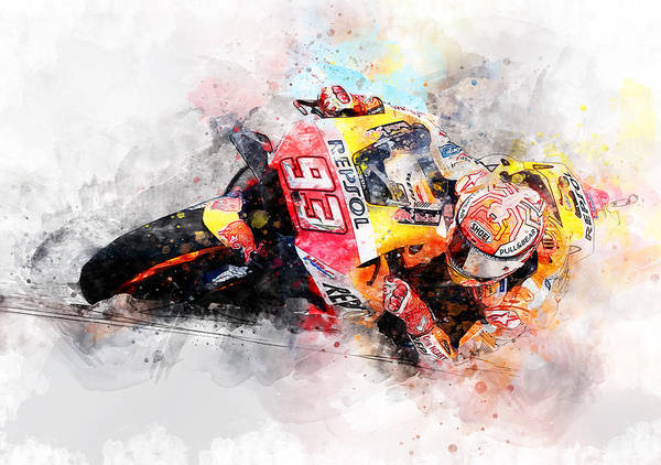 Painting - Marc Marquez - 02 by Andrea Mazzocchetti