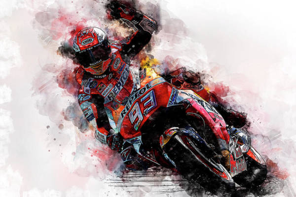 Painting - Marc Marquez - 03 by Andrea Mazzocchetti