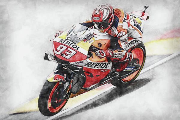 Painting - Marc Marquez - 07 by Andrea Mazzocchetti