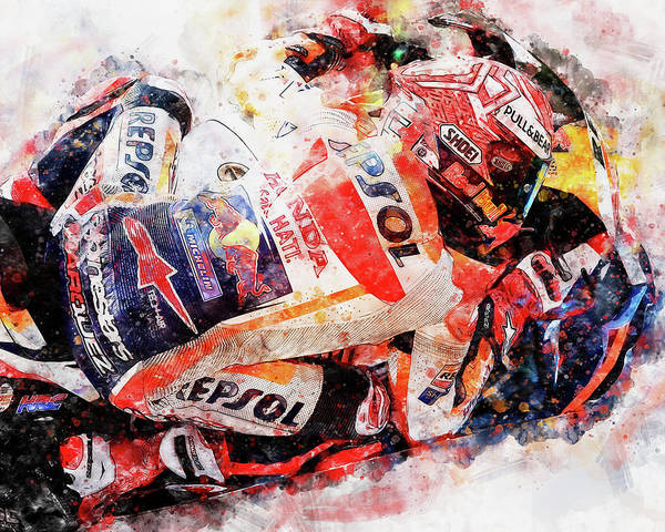 Painting - Marc Marquez - 08 by Andrea Mazzocchetti