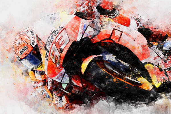 Painting - Marc Marquez - 09 by Andrea Mazzocchetti