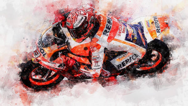 Painting - Marc Marquez - 10 by Andrea Mazzocchetti