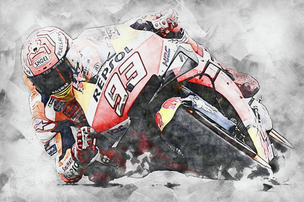 Painting - Marc Marquez - 11 by Andrea Mazzocchetti