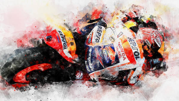 Painting - Marc Marquez - 12 by Andrea Mazzocchetti
