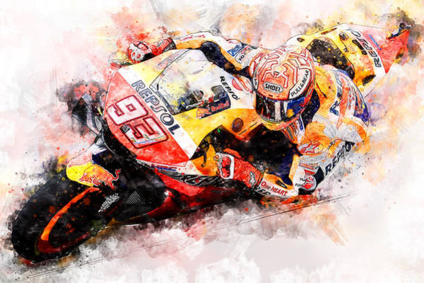 Painting - Marc Marquez - 13 by Andrea Mazzocchetti