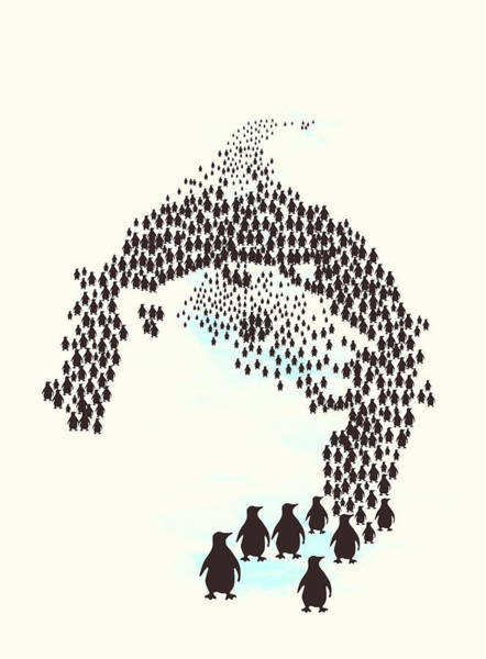 Negative Space Digital Art - March Of The Penguins by Neelanjana Bandyopadhyay