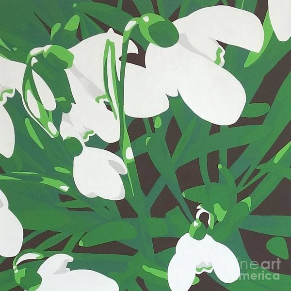 Snowdrop Painting - Marching Forward Into Spring by Susan Porter