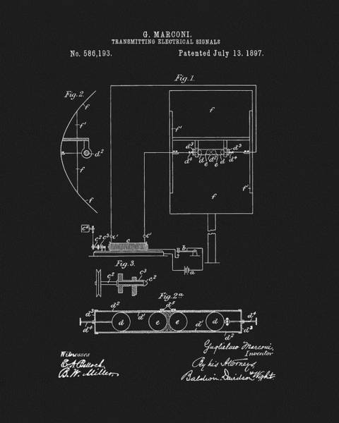 Wall Art - Drawing - Marconi Radio Patent by Dan Sproul