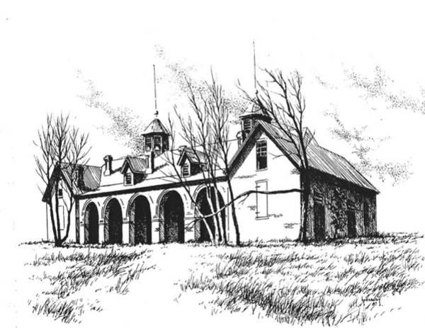Drawing - Marcus Daly Tammany Barn Hamilton Montana by Kevin Heaney