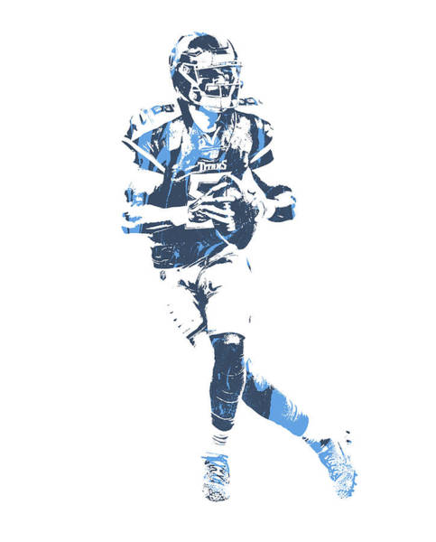 Wall Art - Mixed Media - Marcus Mariota Tennessee Titans Pixel Art 25 by Joe Hamilton