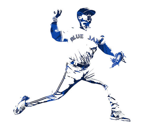 Wall Art - Mixed Media - Marcus Stroman Toronto Blue Jays Pixel Art 1 by Joe Hamilton