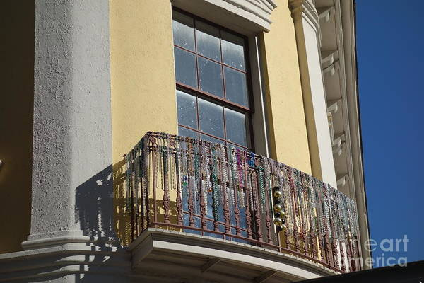 Photograph - Mardi Gras Beads On Balcony New Orleans by Susan Carella