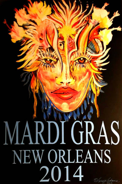 Painting - Mardi Gras Lady by Amzie Adams