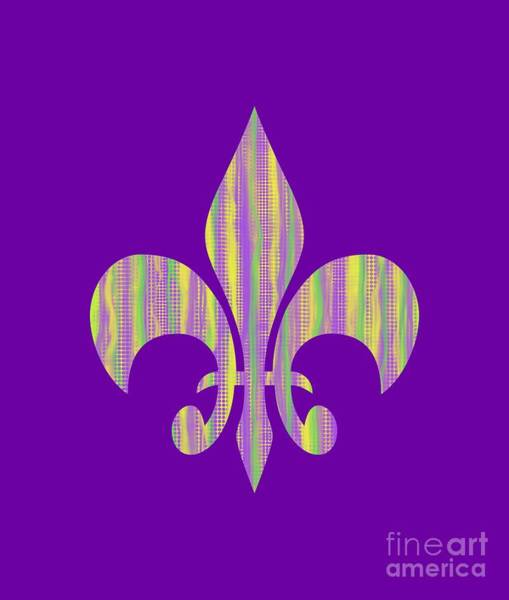 Digital Art - Mardi Gras Time Fleur De Lis by Annette M Stevenson