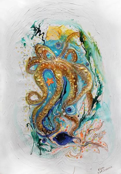 Wall Art - Painting - Mare Nostrum #3. The Golden Octopus by Elena Kotliarker