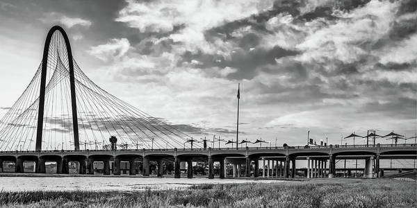 Photograph - Margaret Hunt Hill Bridge Panorama - Dallas Texas Black And White by Gregory Ballos