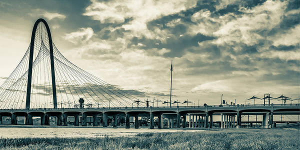 Photograph - Margaret Hunt Hill Bridge Panorama - Dallas Texas Sepia by Gregory Ballos