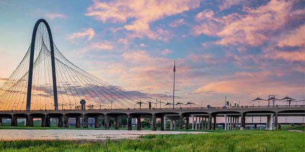 Photograph - Margaret Hunt Hill Bridge Panorama - Dallas Texas Sunrise by Gregory Ballos