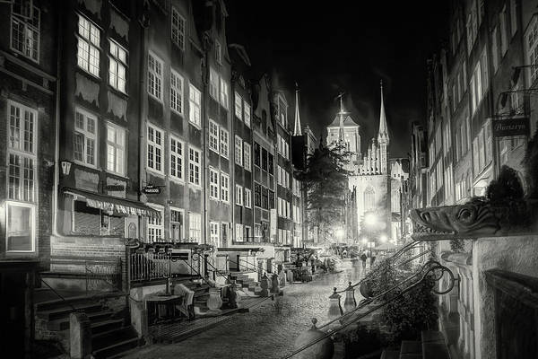 Wall Art - Photograph - Mariacka Street By Night Gdansk Poland Black And White by Carol Japp