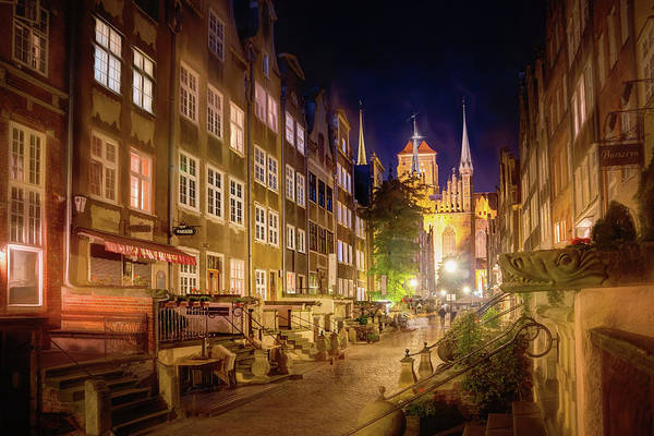 Wall Art - Photograph - Mariacka Street By Night Gdansk Poland  by Carol Japp