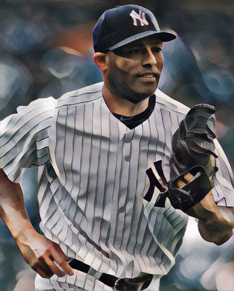 Wall Art - Mixed Media - Mariano Rivera  New York Yankees Abstract Art 2 by Joe Hamilton