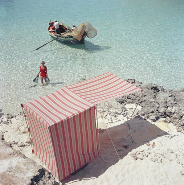 Men Photograph - Marietine Birnie, Blue Lagoon by Slim Aarons