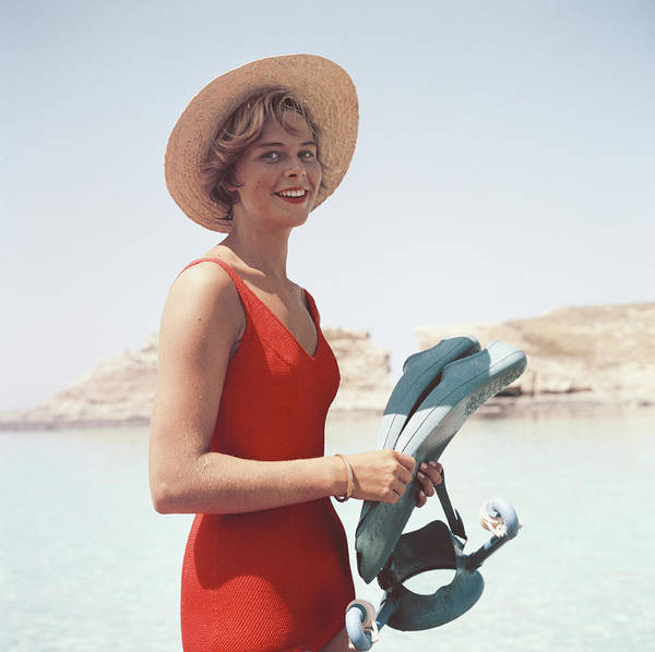One Piece Swimsuit Photograph - Marietine Birnie by Slim Aarons