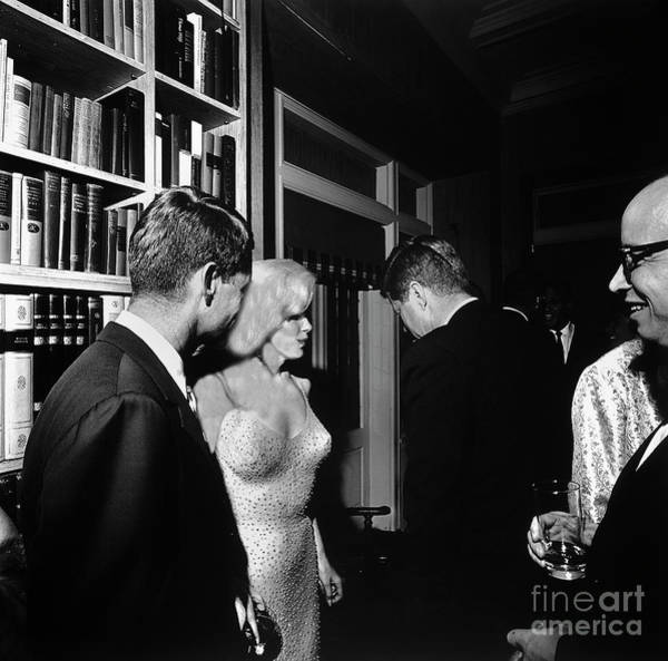 Photograph - Marilyn Monroe Meets And Greets The Kennedy Brothers - Circa 1962 by Doc Braham