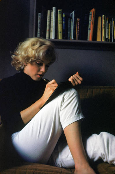 Hollywood Photograph - Marilyn Monroe Writing At Home by Alfred Eisenstaedt