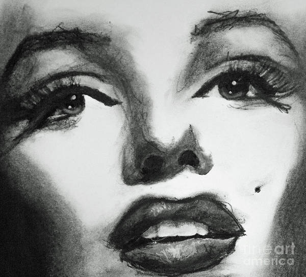Drawing - Marilyn Scribble by Michael Cross