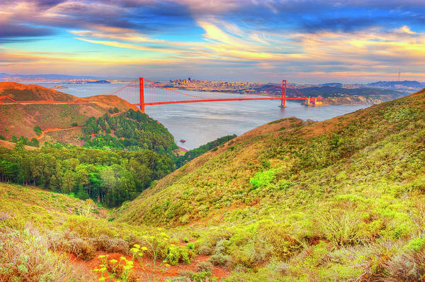 Photograph - Marin Headlands And Golden Gate Bridge by Mitchell Funk