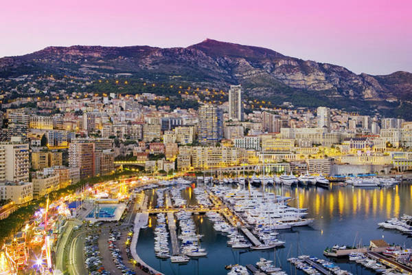 Monaco Photograph - Marina And Cityscape Of Monaco At Dusk by Scott E Barbour