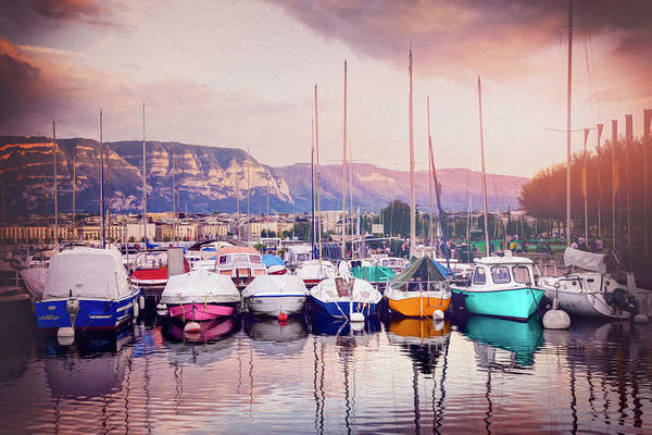 Wall Art - Photograph - Marina At Dusk Geneva Switzerland by Carol Japp